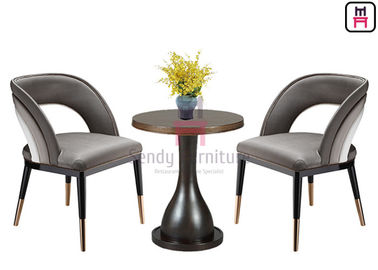 Open Back Rainbow Leather Wood Restaurant Chairs With Gold Stainless Steel Feet